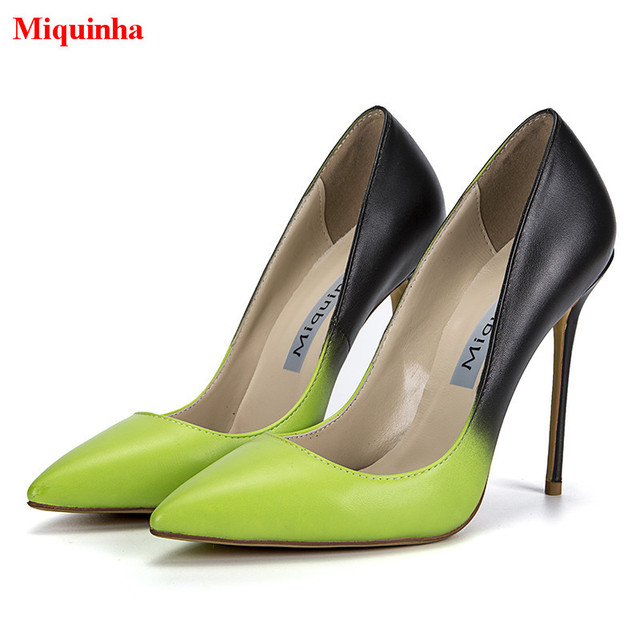 303f097db86aa US $68.21 30% OFF|Miquinha Brand High Heels Zapatos Mujer Neon Yellow Black  Gradient Leather Women Pumps Mixed Color Stiletto Slip On Shoes Woman-in ...