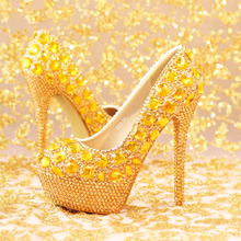 Gold rhinestone ultra high heels bridal shoes women performance round toe thin heels shoes hot-selling size 35-39