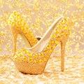 Ouro strass capa de salto alto sapatos de noiva sapatos de desempenho das mulheres dedo do pé redondo saltos finos sapatos hot-selling tamanho 35-39