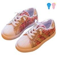 Wiosna jesień powłoki toe złoto sznurowania slip on dziewczyny skate buty chłopcy canvas shoes kid dzieci sneakers 15-21 cm