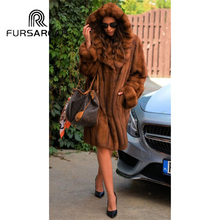 FURSARCAR New Style Luxury Natural Mink Fur Coats For Women 100 CM Length Winter Genuine Female Coat With Big Hood