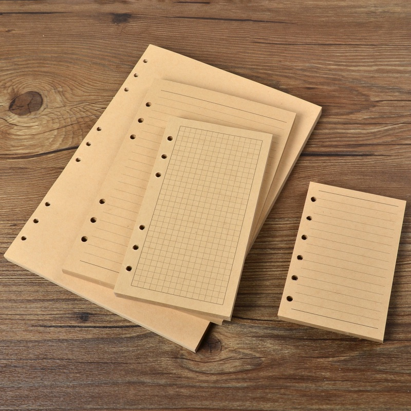 Kraft Paper Brown Lined Paper Notebooks Filler Paper Grid Pages 80sheets 100gsm Plain Notepad Diary Organizer
