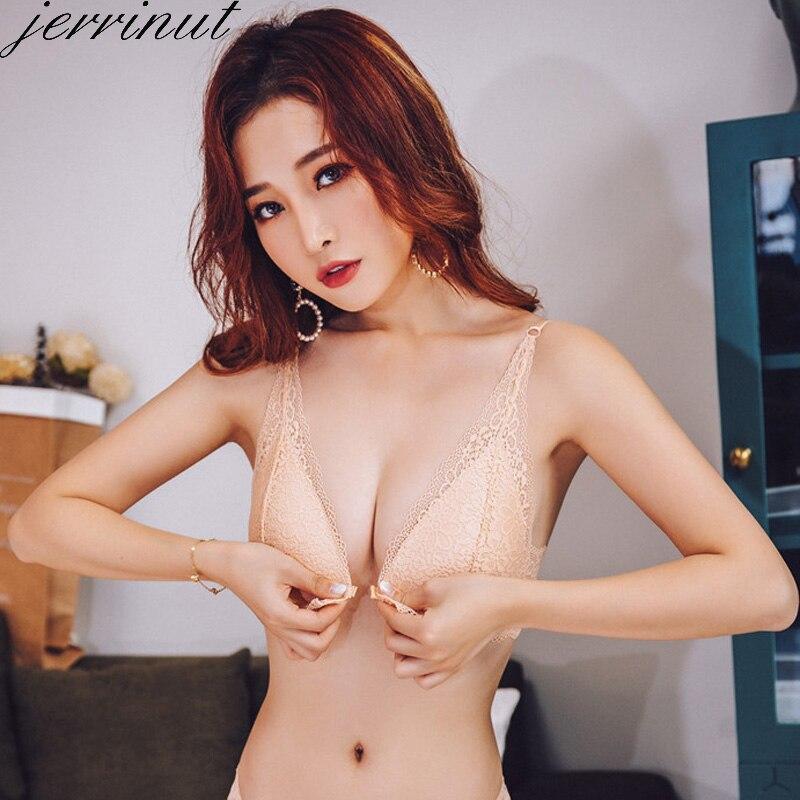 Jerrinut Sexy Bras For Women Lace Seamless Bra Underwear Women Push Up Bra Brassiere Bralette Front Closure Wire Free BH