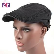 New Autumn 100% Cotton Beret Cap For Men Casual Peaked Caps Solid Hats Metal Buckle Casquette Flat
