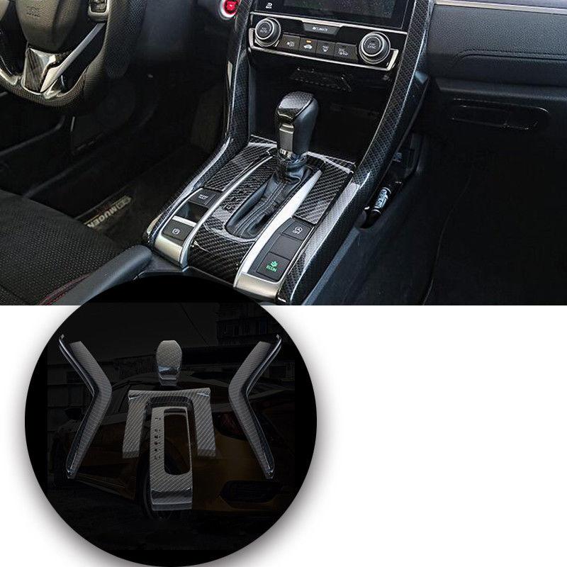 5pcs Carbon Fiber Gear Shift Panel Cover Trim Black For Honda Civic 10th Gen 2016 Interior