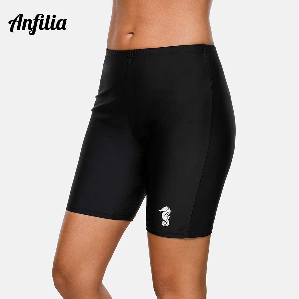 Anfilia Women Sports Swimming Short Skinny Capris Swim Trunks Ladies Boy Shorts Tankini Bottom Swimwear Briefs Beach Wear Shorts