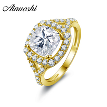 AINUOSHI 10k Solid Yellow Gold Wedding Ring Vintage Anillos Customized Fine Jewelry Design 2.25 ct Princess Cut CZ Wedding Ring