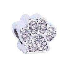 New Pets Animal Dog Paw Prints Bear Paw Charms Beads European DIY Beads Fit Pandora Charms Bracelets & Bangle Fashion Jewelry