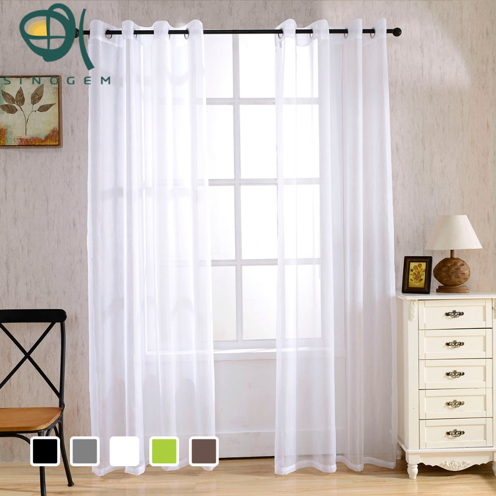 Sinogem Modern Pure Color Tulle Window Treatments Sheer Curtains for - Thuis textiel