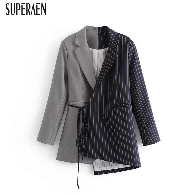 SuperAen 2018 Autumn Europe Fashion Women Suit Jacket Long Sleeve Wild Cotton Ladies Jacket Stripes Irregular