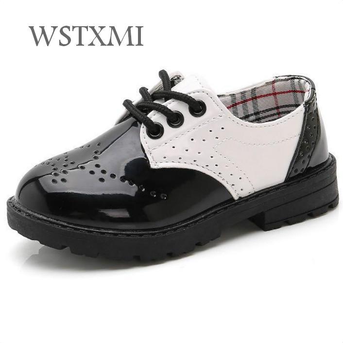 Children School Leather Shoes For Boys Wedding Student Shoes Kids Oxford Dress Designer Black Baby Girls Performance Formal Shoe