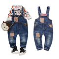 2017 spring fashion leisure Pant for Baby Girls bib pants children Denim Overall Trousers kids patchwork infant jeans boys