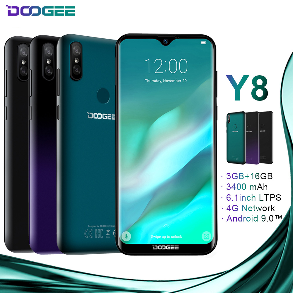 DOOGEE Y8 4G LTE Mobile phone MTK6739 Quad Core 3GB 16GB 8MP+8MP Android 9.0 3400mAh 6.1 FHD 19:9 Display Smartphone  - buy with discount