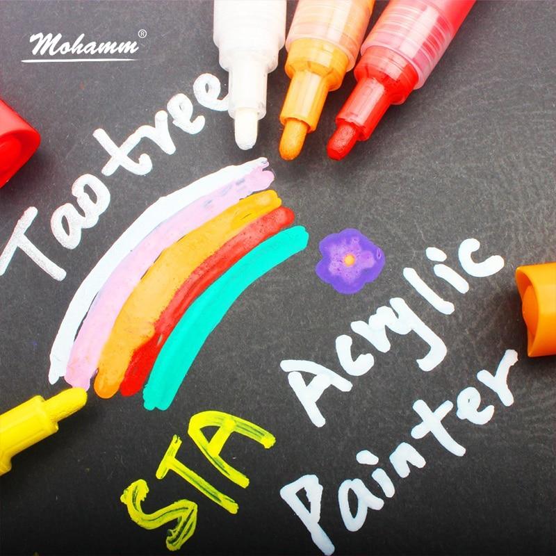 12 farben Mohamm Acryl Metall Textil Stoff Farbe Marker Öl-Basierend Permanent Metallic Marker Stift für Schwarz Papier Schreibwaren