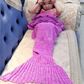90*50cm Baby Kids Knitting Mermaid Tail Blanket Handmade Crochet Knit Mermaid Swaddling Sleeping Bag for Baby Girls LA932000