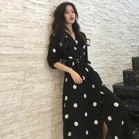 SuperAen летнее женское платье корейский стиль Мода v-образным вырезом дамы длинное платье Повседневное Половина рукава платье в горошек Новин...