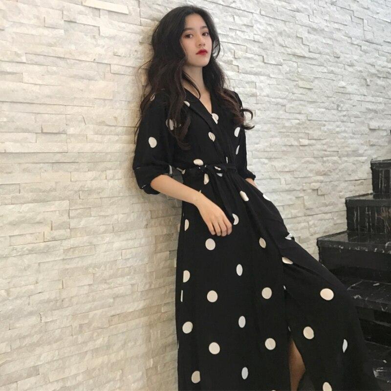 SuperAen Sommer frauen Kleid Koreanische Stil Mode V-ausschnitt Damen Lange Kleid Lässig Halb Hülse Dot Kleid Weibliche Neue 2018