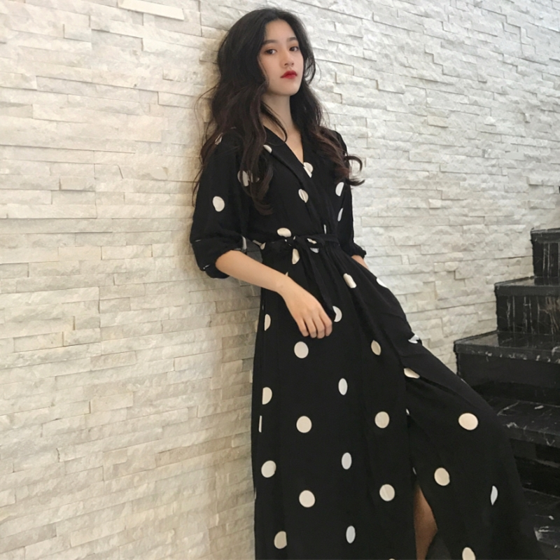 A-Line Casual Dot Summer Ladies Korean Style Dress