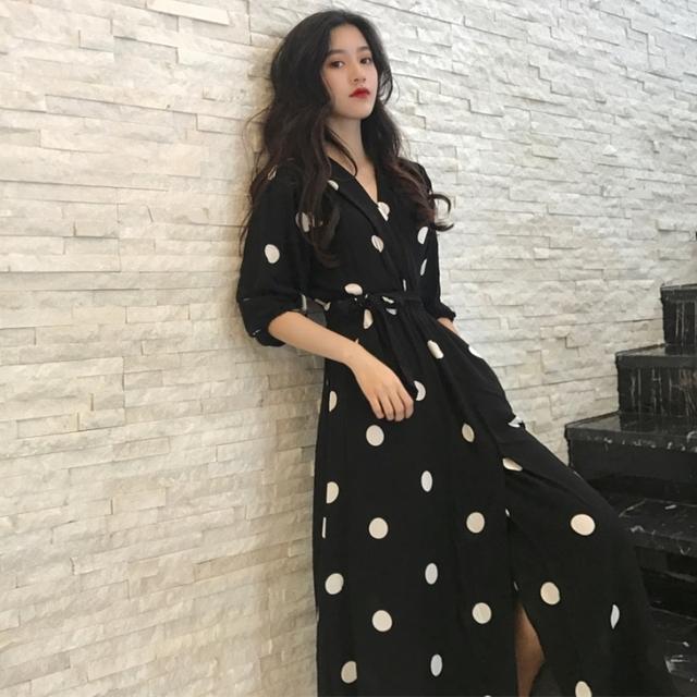 Korean Style Fashion V-neck Ladies Long Dress