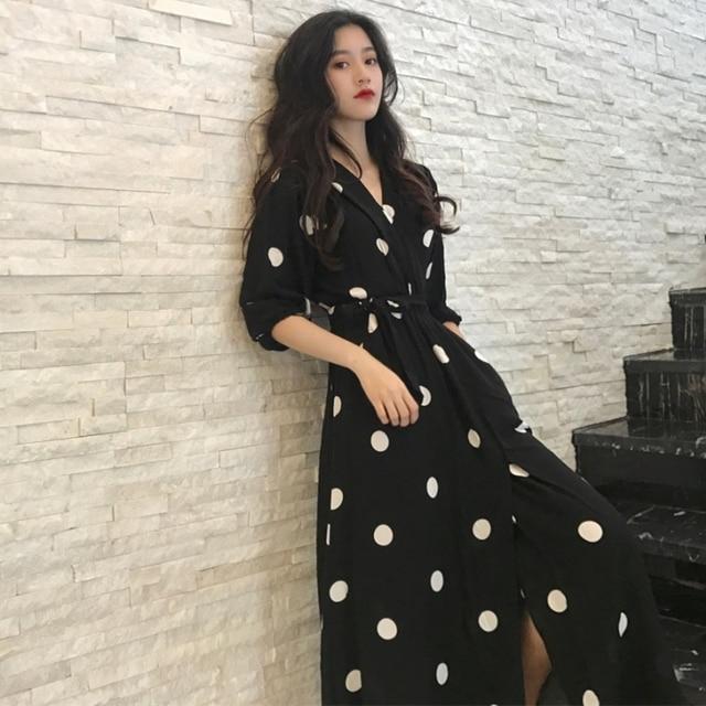 SuperAen קיץ נשים של שמלה קוריאני סגנון אופנה V-צוואר גבירותיי ארוך שמלה מזדמן חצי שרוול דוט שמלה נשי חדש 2018