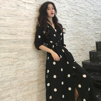 9e3d6230f SuperAen Summer Women S Dress Korean Style Fashion V Neck Ladies Long Dress  Casual Half Sleeve. SuperAen Verão Vestido Estilo Coreano Moda das Mulheres  ...