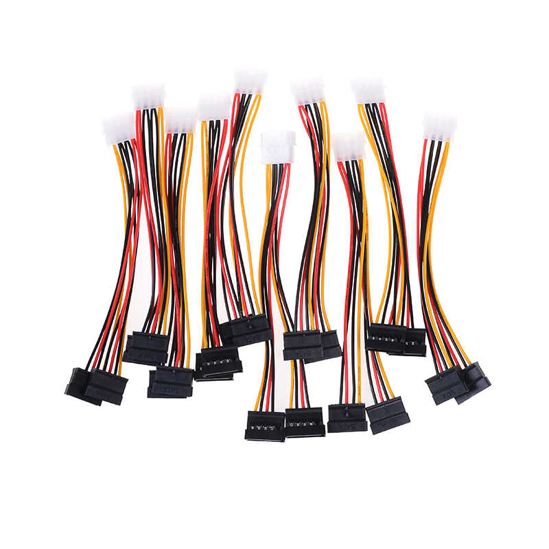 10pcs Computer Cable 4 Pin IDE Power Splitter 1 Male to 2 Female ATA / SATA Power Cable Y Splitter Hard Drive Power Supply Cable