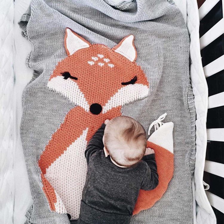 Baby Blanket Fox Knitting Blanket Kids Wool Swaddle Bed Sofa Blanket Children Bath Towel Play Mat Photography Props 110*70CM