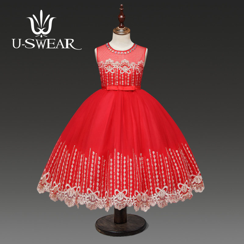 U-SWEAR 2019 New Arrival Kid   Flower     Girl     Dresses   O-neck Crystal Beaded Flora Lace Chiffon Ball Gown   Flower     Girl   Pageant   Dresses
