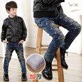 Crianças Meninos Denim calças de Brim Novo 2016 Outono Inverno Além de Veludo Calças Quentes Da Moda Buraco Marca Cintura Elástica Crianças Calças Roupas