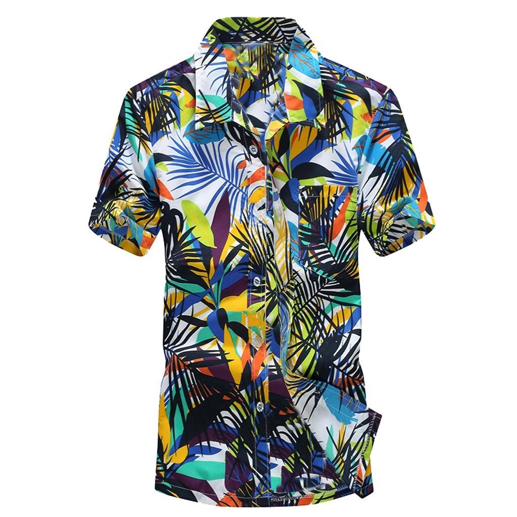 ab85b51de18 2019 Мужская Гавайская печать короткая мужская рубашка Спортивная  повседневная рубашка Пляжная быстросохнущая блузка Топ Блузка camisa