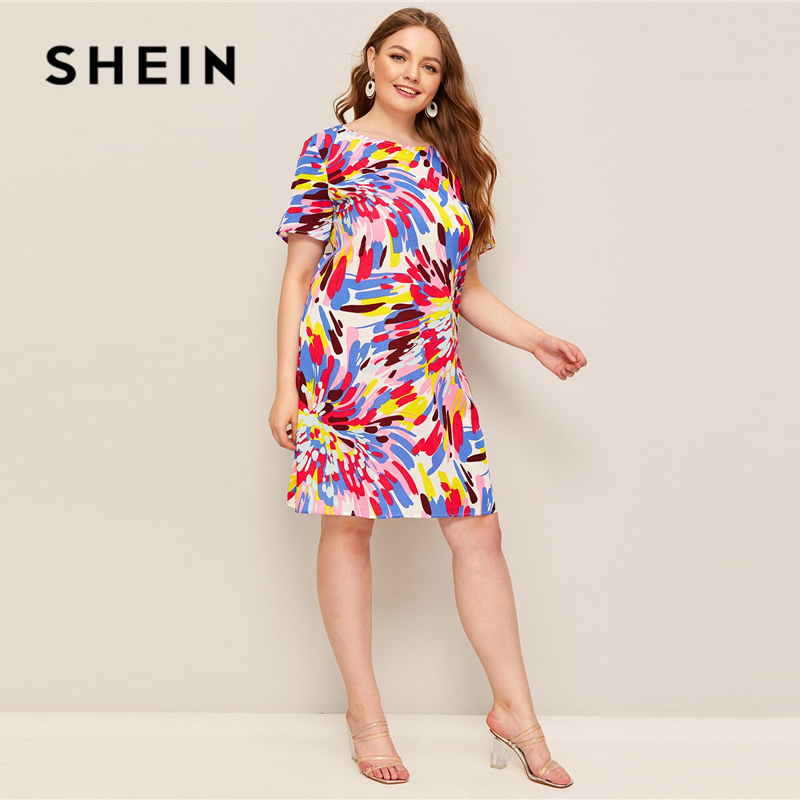 SHEIN Plus Size Multicolor Splash Print Tunic Dress Women's Shein Plus Size Collection