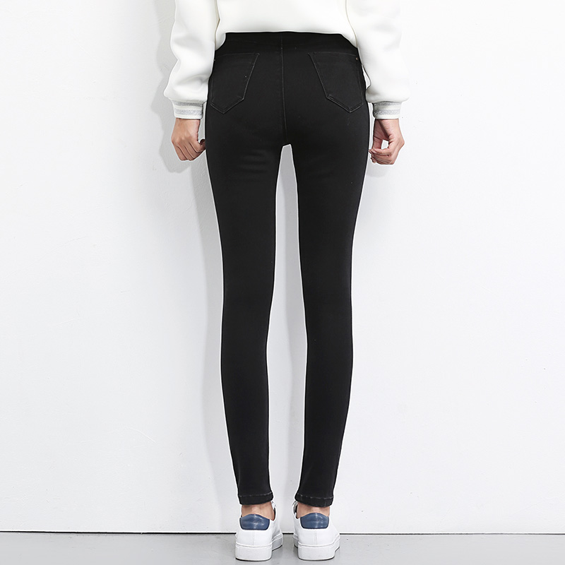LEIJIJEANS 2020 Plus Size button fly women jeans High Waist black pants women high elastic Skinny pants Stretchy Women trousers 3