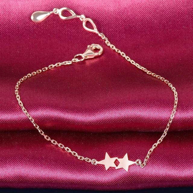 18K Rose Gold Heart Charm Bracelet Solid K Gold 18cm Fashion Jewelry