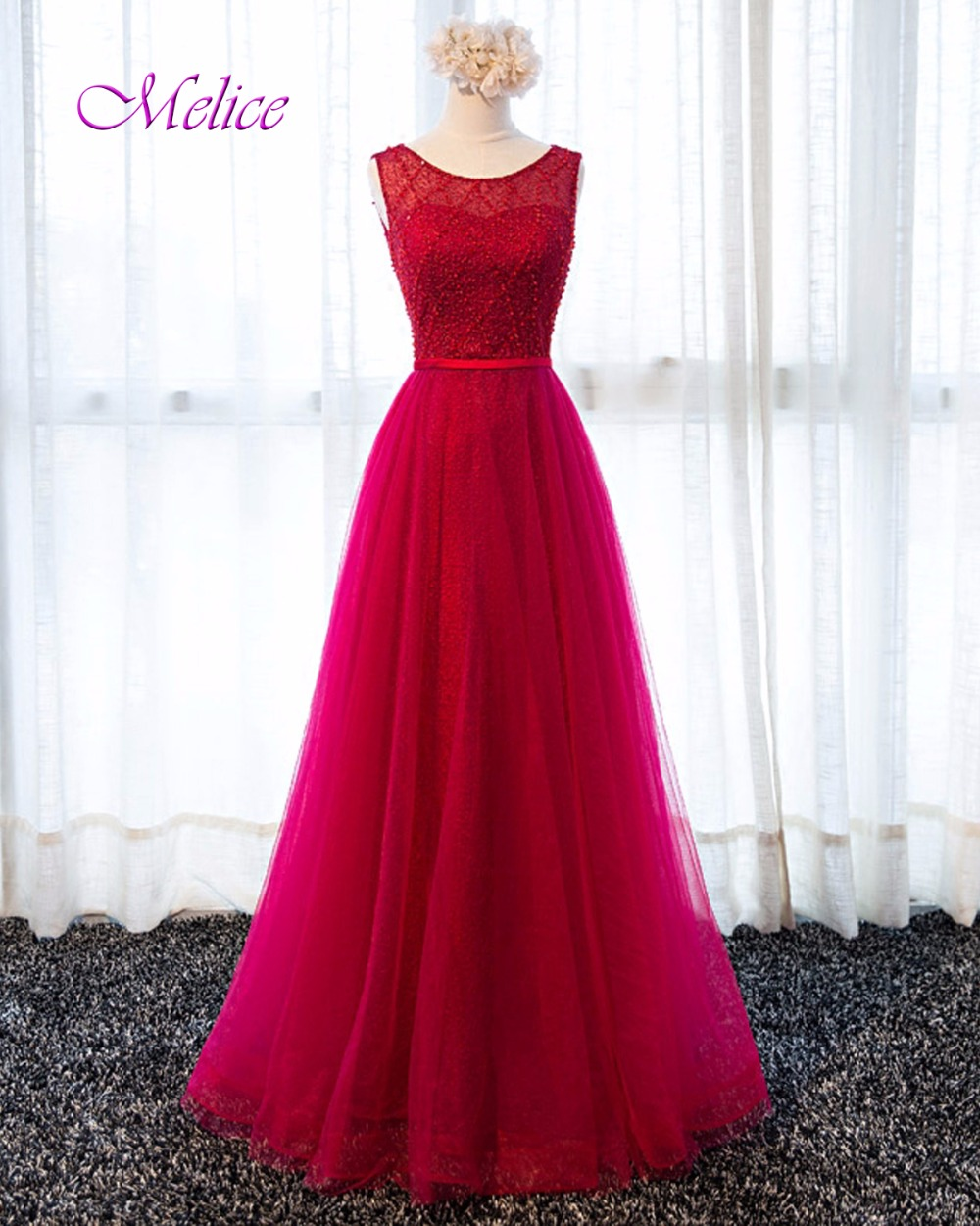 Melice New Design Gorgeous Lace Floor-Length Prom Dress 2019 Beaded Scoop Neck Sashes Formal Party Gown Robe De Soiree Hot Sale