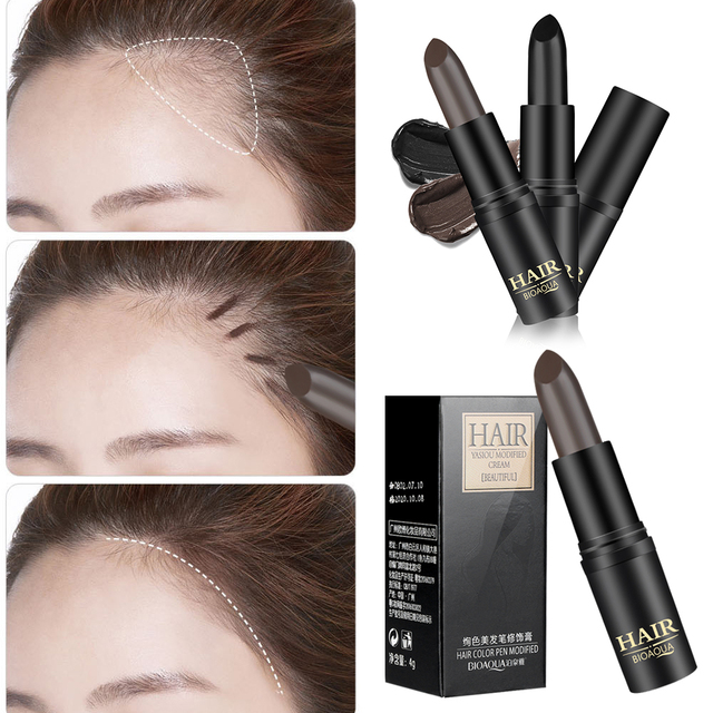 1PC Long-Lasting Black Brown Temporary Hair Dye Cream Mild Fast One-off Hair Color Pen Cover White Hair DIY Styling Makeup Stick