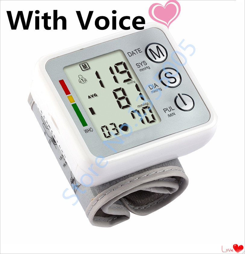 Tensiometros Digital 2015 Sale Promotion Health Monitors Digital Tonometer With Voice Wrist Blood Pressure Monitor Heat Rate