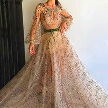 ゴールド長袖視点セクシーなイブニングドレス高級ダイヤモンドスパンコールファッションイブニングドレス 2020 リアルフォト LA6601