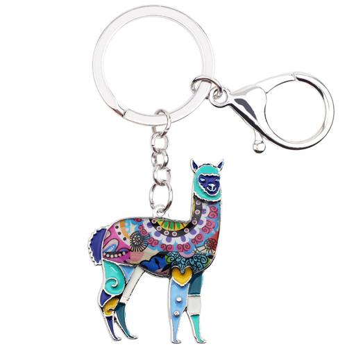 Enamel Floral Alpaca Key Chain Mawgie