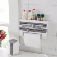 TSSAAG 3 in 1 Plastic Wall Mounted Wrap Foil Dispenser with Paper Towel Holder and Spice Rack Grey