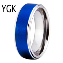 YGK Brand JEWELRY 8MM Blue Matte Center with Silver Step Eage Tungsten Carbide Comfort Fit Ring for man and woman's wedding