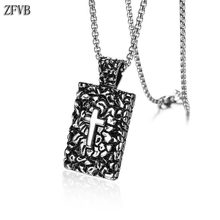 ZFVB NEW Vintage Cross Necklace Men Religious Jewelry High Polish 316L Stainless steel Christian Pendant Necklaces Gift