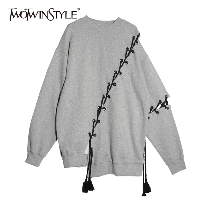 TWOTWINSTYLE Kpop Sweatshirt for Women Criss-Cross Lace up Long Sleeve Female Sweatshirts Pullover Casual Tracksuit Top Big Size casual fall style black long sleeve lace up sweatshirt