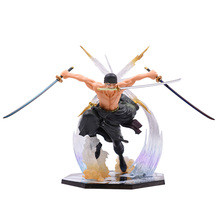 17 cm Anime One Piece Battle Ver Roronoa Zoro PVC Action Figure Doll Collectible Model Toy Christmas Gift one piece statue the straw hat pirates pirate hunter bust supernova roronoa zoro gk action figure collectible model toy box w127