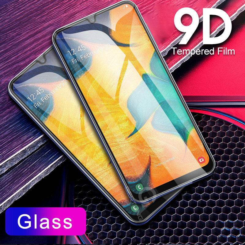 Cell Phone - 9D Curved Tempered Glass on the For Samsung Galaxy A30 A50 A10 Screen Protector on For Samsung M10 M20 M30 Protective Glass Film
