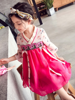 Modern chinese style girl clothing pink cheongsam qipao national flare sleeve v neck dress summer hanfu kids classic dress girl