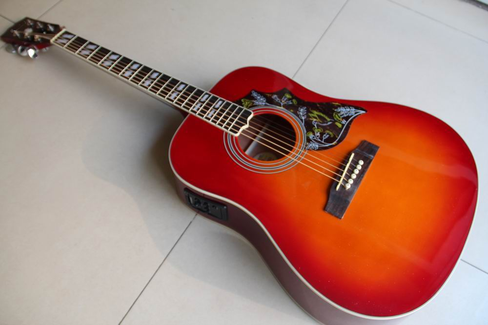 Wholesale new acoustic electric guitar humminggbird abalone binding inChery Burst 120117 electric guitar neck thru 7pcs real abalone binding red burst thin yellow center natural gutiar back ash wood grain body side