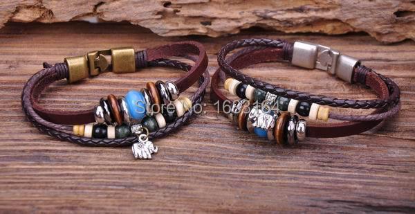 G68 2pc Surfer Leather Wood Stone Beads Wristband Bracelet Cuff Cute Elephant Mens