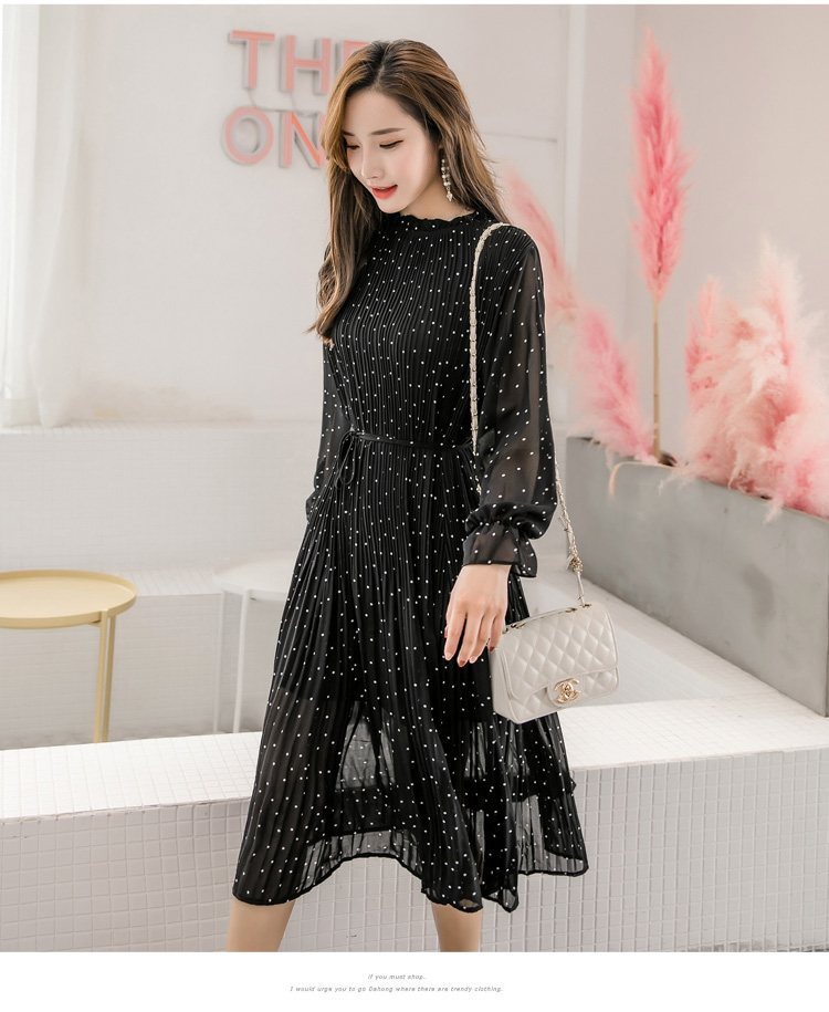 Women chiffon dress 19 spring autumn female elegant vintage long sleeve dot pleated dress office lady casual loose dresses 7