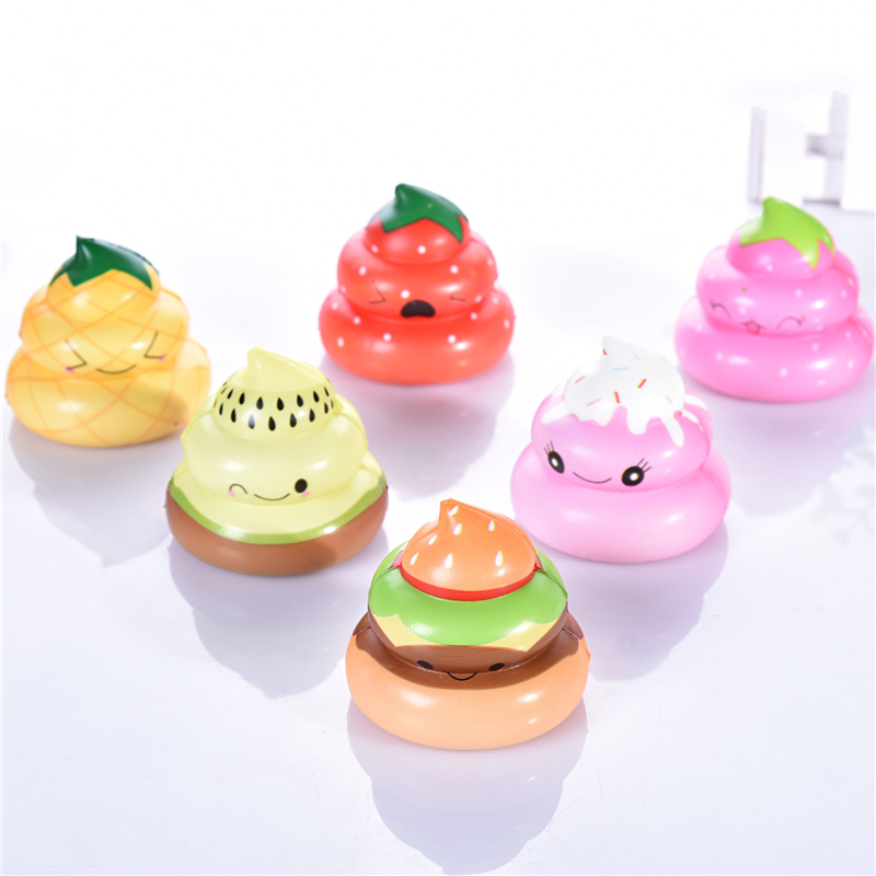 20PC Lot Stress Relieve Toys Shit Style Exquisite Fun Colorful Poo Scented Squishy Charm Slow Rising