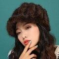 Otoño invierno muy cálido por debajo de cero show mujeres verdadera piel de visón ball estilo de rusia vintage lady luxur sombrero de piel famosa banda